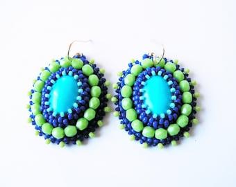 Beadwork Earrings Turquoise Green Earrings Bead embroidery Earrings Bead embroidered Jewelry Turquoise Earrings Turquoise Blue MADE TO ORDER