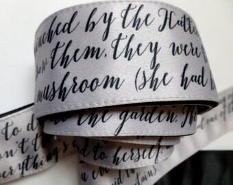 Grey Satin Sash / Literary Satin Belt / Siver Gray Original Bow Wrap Sash / Alice in Wonderland Text Belt / Extra Long Printed Sash