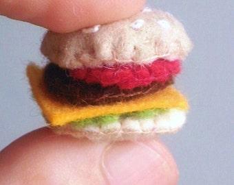 Tiny Cheeseburger -- cute miniature felt food