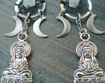 Buddha Earrings Zen dreamcatcher triple moon buddah moonstones moon goddess pagen witch in tribal fusion boho newage and hipster style