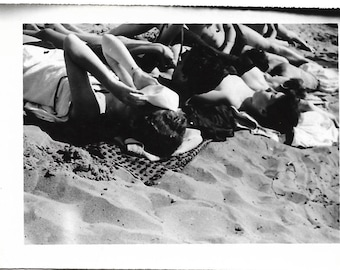 """Vintage Snapshot """"Too Hot"""" Bathing Beauty Covers Face Sexy Swimsuit Women In The Sun Voyeur Abstract Black & White Found Vernacular Photo"""