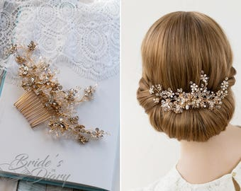 Wedding hair jewelry, golden vintage bridal hair comb with rhinestone, bridal hair accessories