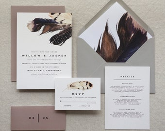 DOUGLAS | Modern Wedding Invitations, Boho Wedding Invites, Feather Wedding Invite, Bohemian Wedding Invitation, Southwestern Wedding Invite