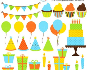 Boy's Party Clipart Set - clip art set of balloons, cake, candles, birthday party - personal use, small commercial use, instant download