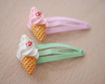 2x sweet ice-cream hair clips