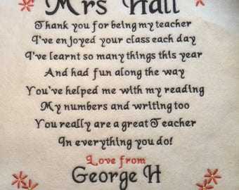 Personalised Thank You Gift for Teacher Pillow 12inch x 12inch.