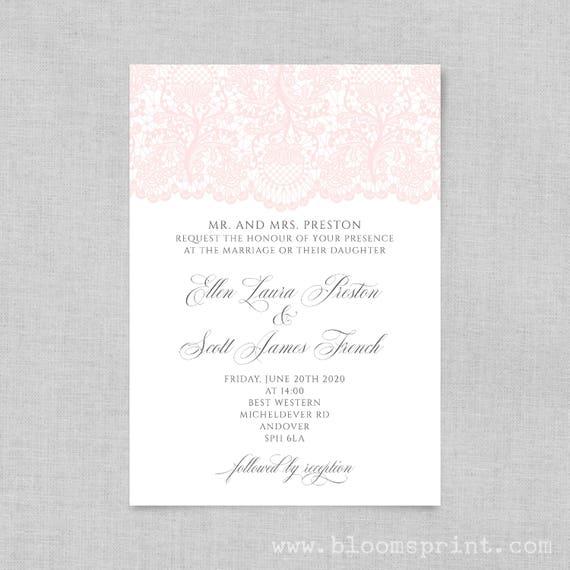 Wedding invitation printable,  Simple wedding invitation, Wedding invite template, Engagement invites, Blush Lace Online UK, A5