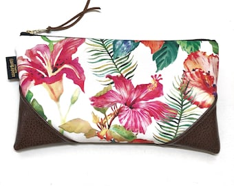 Large Blooming Hibiscus Zipper Clutch / Zip Pouch with Zipper Pull or Leather Wristlet Strap