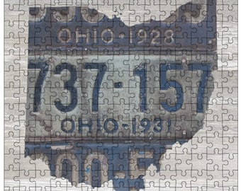 Ohio Jigsaw Puzzle   Vintage License Plate Art   State Outline   Fun Puzzle
