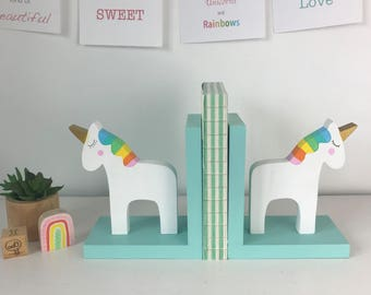 Rainbow Unicorn Bookends, Children Bookends, Unicorn Room Decor, Rainbow Kids, Unicorn Baby, Baby Girl Nursery, Wooden Unicorn, Rainbow baby