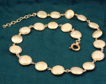 White Coin Pearl Sterling Silver Station Necklace