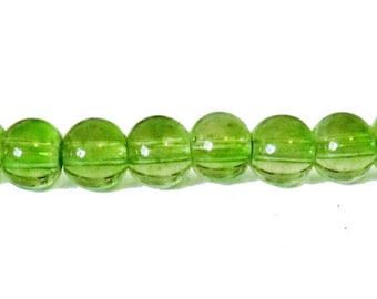 10 x 6mm moss green glass round beads