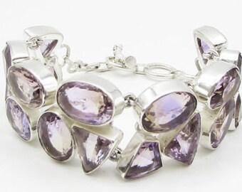 925 sterling silver - multi-cut amethyst 27mm heavy chain bracelet - b1062