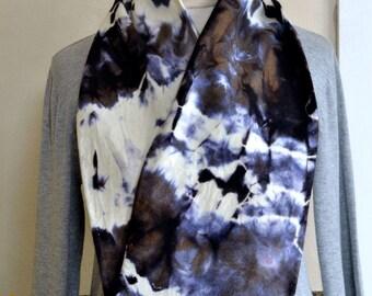 Hand Dyed Scarf Black White Shades of Purple & Grey Soft Light Wool Shibori Style