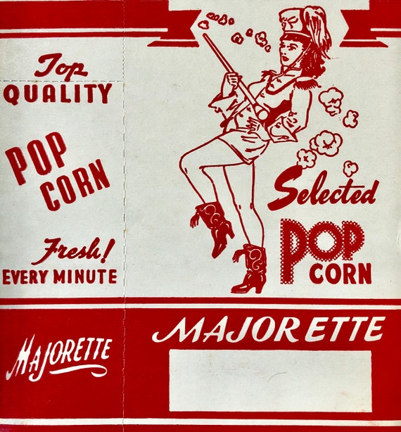 original photo print, vintage Majorette movie theater popcorn box, Massillon Ohio, 4x5, 8x10, 16x20