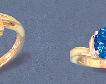 Solid Sterling Silver or 14kt White or Yellow Gold 9x7 Oval blank Swirl L-Shank Ring setting Size 7, 163-822/143-822