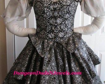 DDNJ Choose Fabric 4pc Reversible Corset Style Bodice Chemise Skirts Renaissance Plus Custom Made ANY Size Vampire Gypsy Victorian Spiderweb