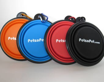 Collapsible Dog Bowl (set of 2) by PetzoPet. BPA Free, Foldable Food Bowl with Carabiner, Dishwasher Safe. For Dogs Cats & Puppy