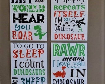 Dinosaur signs, 4 canvas signs, Dinosaur Wall decor, Boys room Decor, Boy nursery decor, Dinosaur, Rawr means I love you in Dinosaur