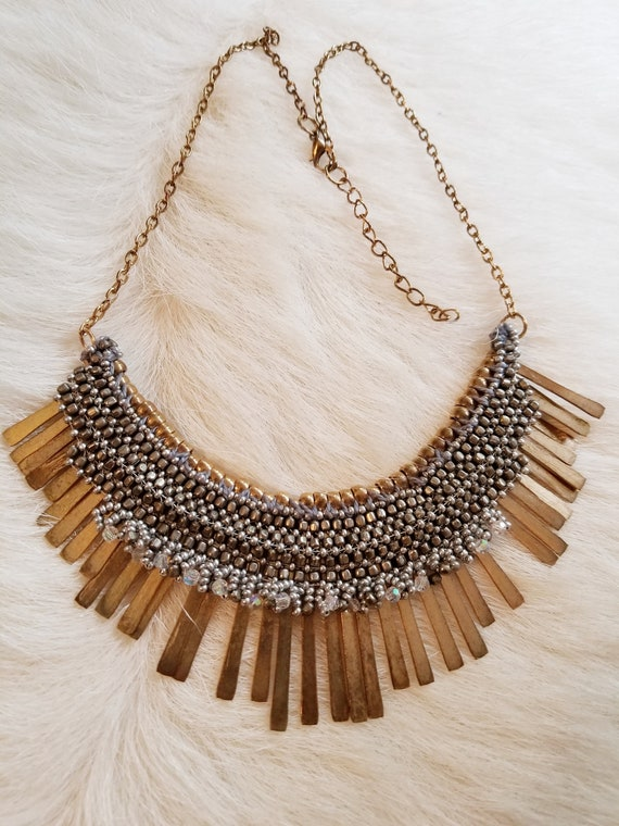 Vintage Gypsy Fringe and Beaded Bib Necklace