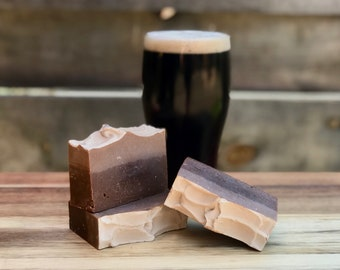Black Tan Beer Soap, Beer Soap, Guinness Soap, Handmade Soap, Irish soap, Layered Soap, Cold Process Soap