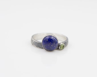 Lapis - Peridot -  Stacking Ring  - Hammer Textured Band - Recycled Sterling Silver
