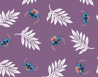 Disney Fabric Lilo and Stitch Fabric Palm Leaves in Wildberry Purple From Camelot 100% Cotton