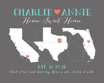 First Home Gift for Housewarming Art Print, Hometowns, 3 Maps, Long Distance, Moving Away Gift, New House, What I Love Most Home   WF217
