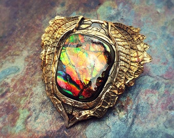 Bronze PMC and Vivid Ammolite Pendants! Ready to Ship