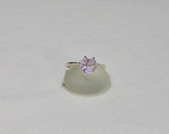 Amethyst Size 6 Heart Sterling Silver Ring
