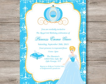 Princess Birthday Invitation with Editable Text, Princess Party Invitation to Print at Home, DIY Editable Cinderella Princess Invitation