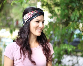 Midnight Floral Turban Headband - Top Knot - Big Bow - Baby Headband - Buy One Give One