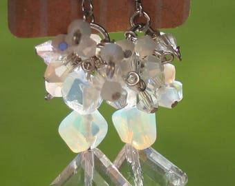 Genuine Moonstone Swarovski Crystal Earrings