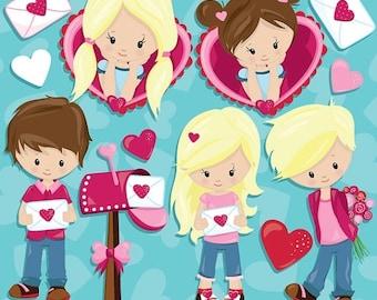 80% OFF SALE Valentine clipart Kids commercial use, Valentine  kids clipart, vector graphics, digital clip art, digital images  - CL940