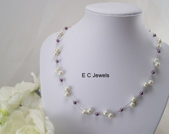 Floating Pearls Necklace for your Bridesmaids- you pick your colors