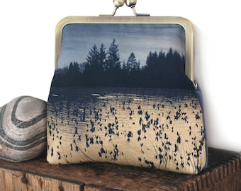 Pines cross-body shoulder bag with kisslock purse frame, reeds, loch, lake, natural landscape