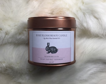 Candle with Rose Geranium essential oil - Vegan Candle - cruelty free and natural Soy Candle - Bio P&P