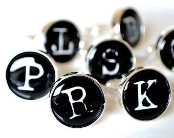 Initial cufflinks - vintage typewriter print font - keepsake gift for the groom, groomsmen, father of the bride