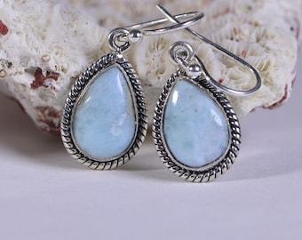 Larimar Earrings Sterling Silver Handmade Jewelry Natural Larimar Jewelry