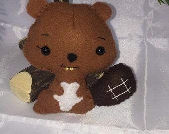 Hand sewn Wool Felt Beaver Ornament