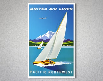 Pacific Northwest  United Airlines  Travel Poster - Poster Print, Sticker or Canvas Print / Gift Idea