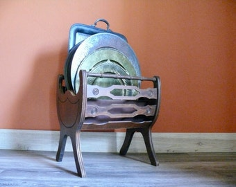 Solid Carved Wood Magazine Rack, Curved Wood Magazine Stand, Serving Tray  Storage, Fireplace