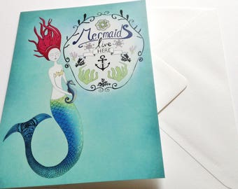 Mermaid card - greeting card (blank)