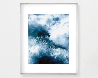Blue Abstract Seascape Painting Coastal Wall Art Ocean Print Large Wall Art Ocean Painting Digital Download Watercolor Painting