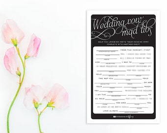 Instant Download Printable Bridal Shower Mad Libs Original