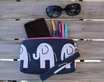 Navy Blue Elephant Wristlet