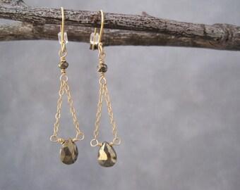 Pyrite Suspension Earrings - Fools Gold - Chain and Stone Earrings - Dangle Earrings