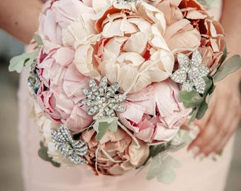 Bridal bouquet, pastel pink,  couture flowers, handmade from scratch with pure dupioni silk and sparkling rhinestone brooches. Made to order