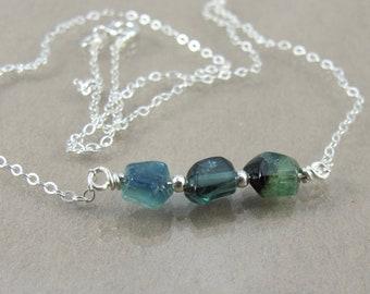 "indicolite blue tourmaline sterling minimalist necklace 16.5"""