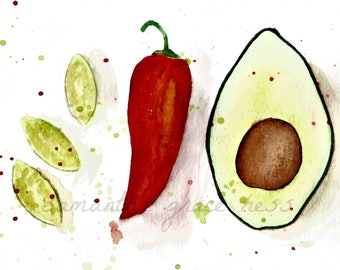 Kitchen Wall Art ORIGINAL Watercolour Painting, Food Gift, Chefs Gift, Kitchen Decor, Gifts For Women,  Foodie Gift, Chilli and Avocado